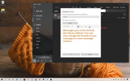 Default font settings Mail app for Windows 10