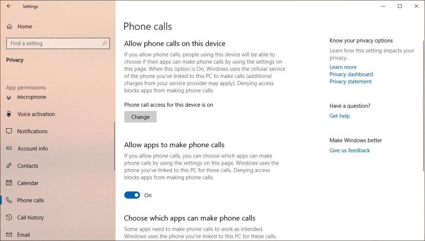 Phone calls settings on Windows 10 version 1903