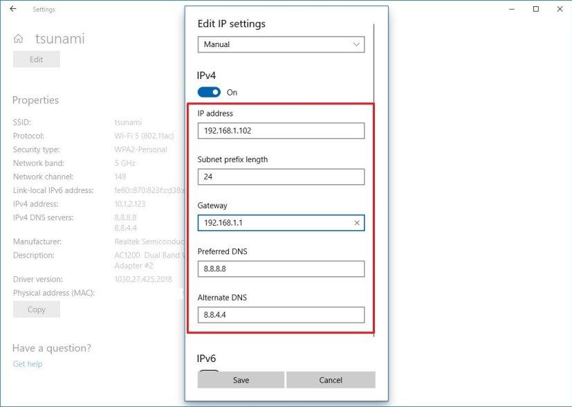 Wi-Fi static IP address configuration on Windows 10
