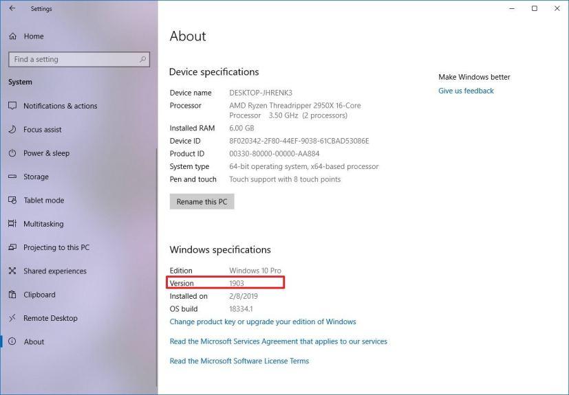 Windows 10 version 1903 information