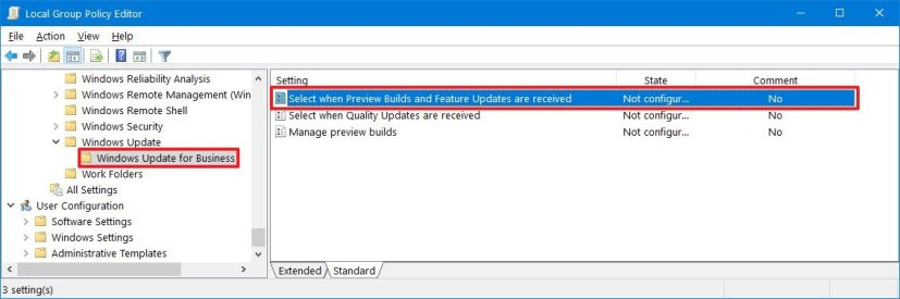 Windows Update for Business in Group Policy on version 1809