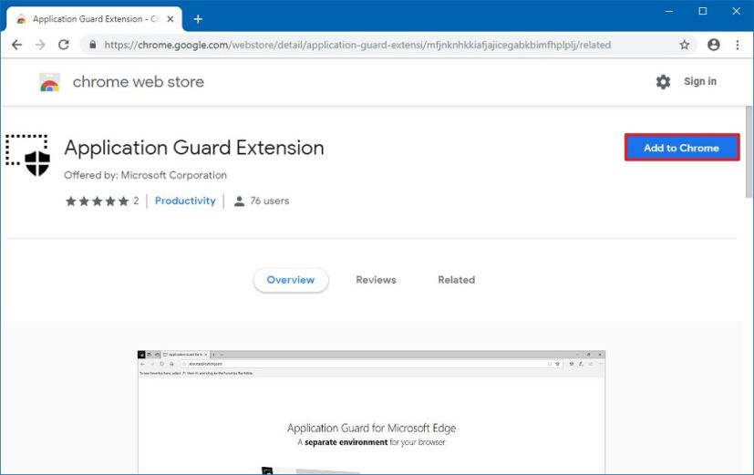 Install Application Guard extension to Chrome
