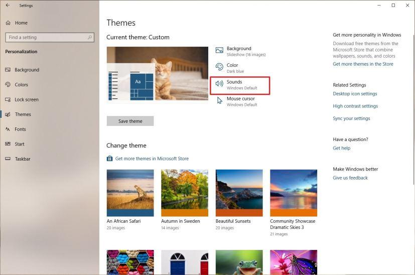 Pengaturan tema, opsi Suara, pada Windows 10