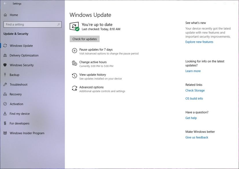 Windows Update settings with the April 2019 Update