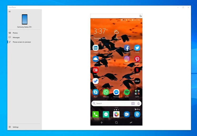 Your Phone app with mirror phone feature