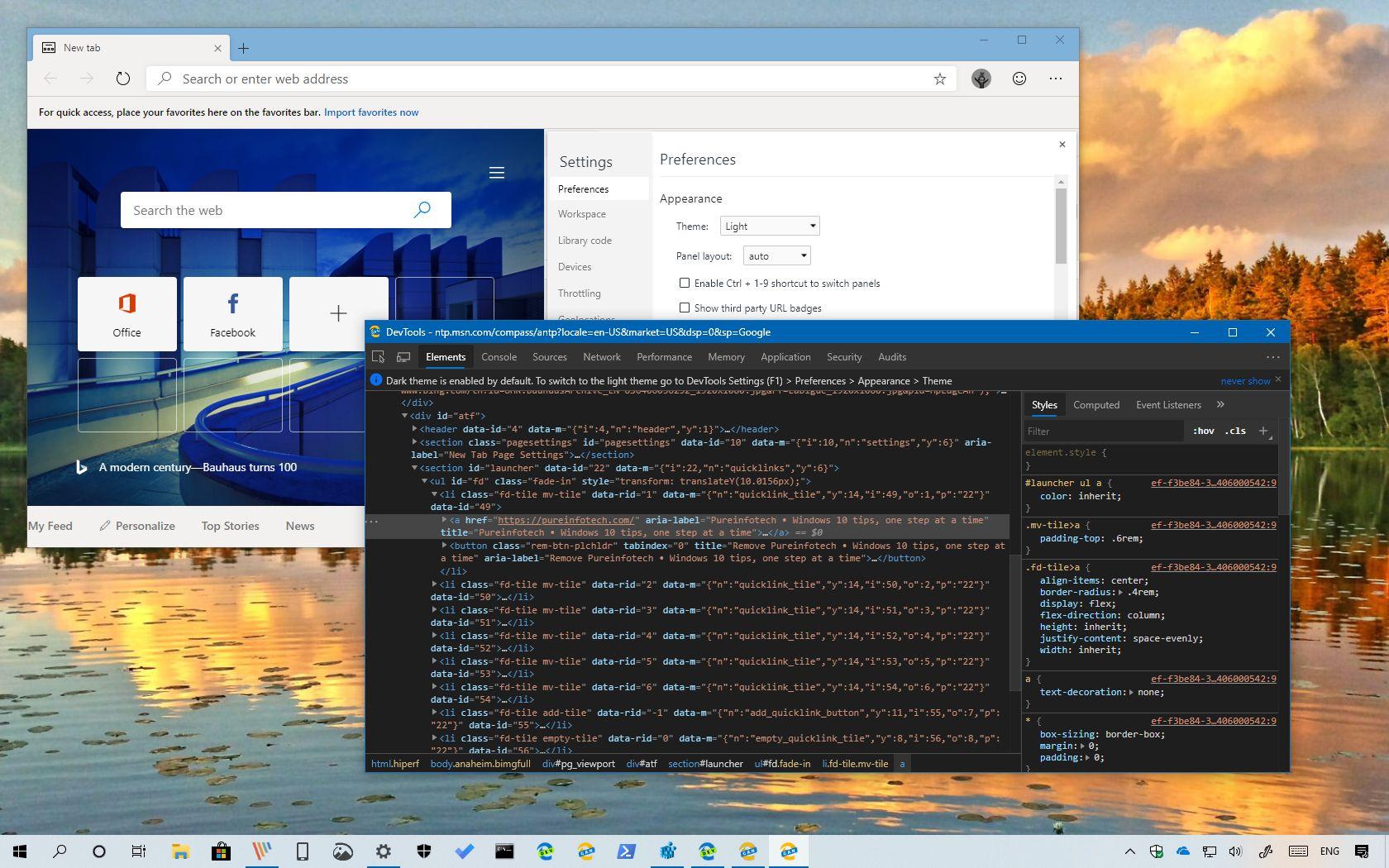 Microsoft Edge Chromium dark and light modes for DevTools panel