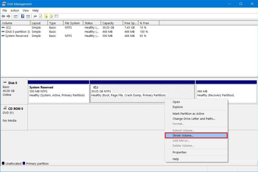 Disk Management, Shrink Volume option