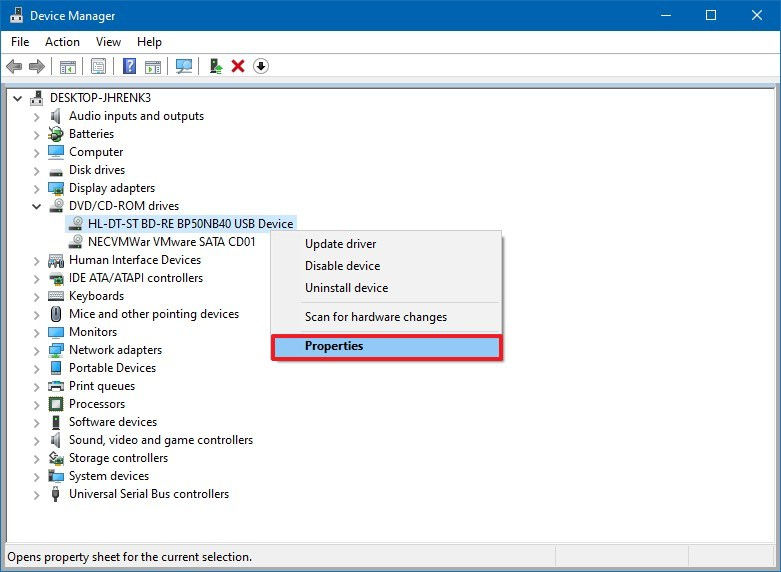 Device Manager DVD Blu-ray settings