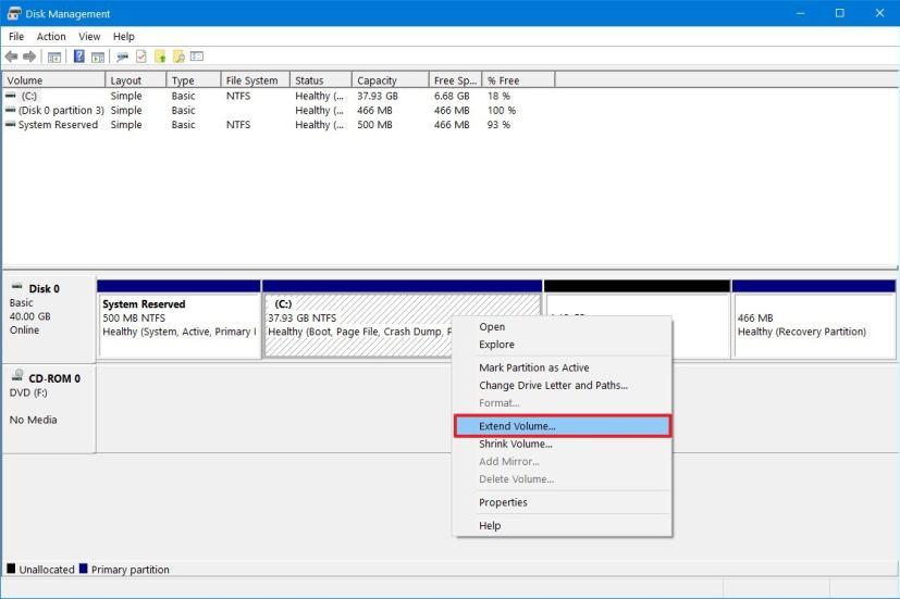 Windows 10 extend volume settings