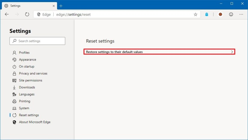 Reset Microsoft Edge settings on Windows 10