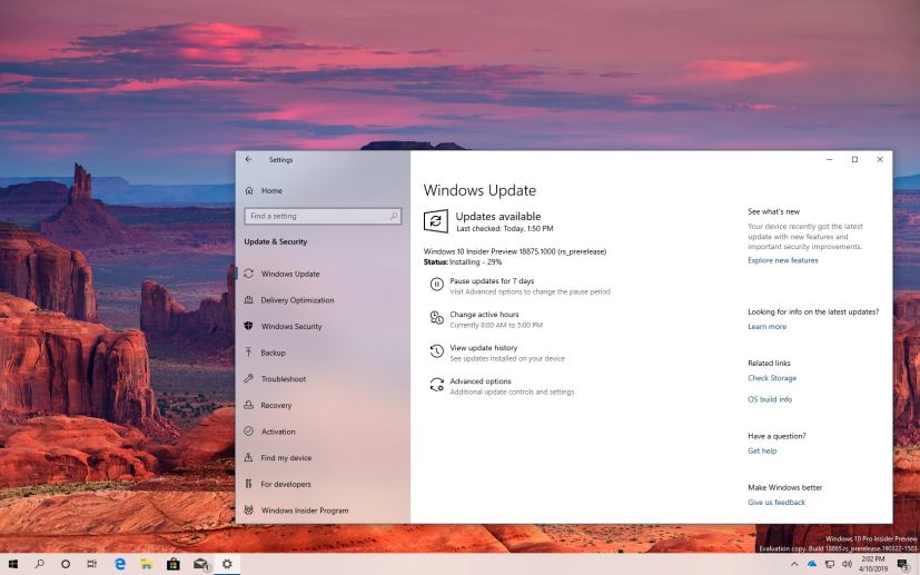 Windows 10 build 18875