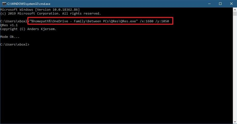 Change screen resolution using Command Prompt