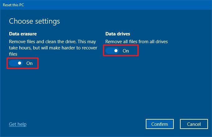 Reset this PC Data erasure and Data drives options