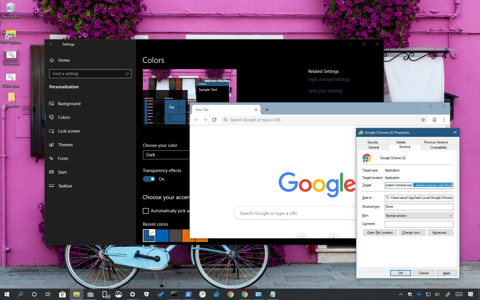 Disable dark mode on Chrome