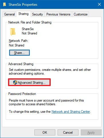 Folder Advanced Sharing option