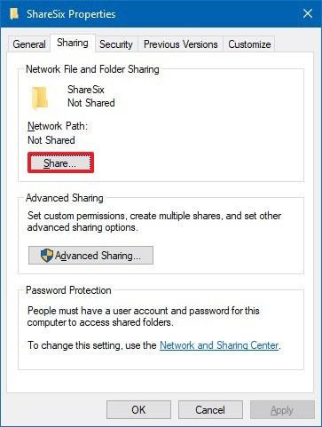 Windows 10 folder share option