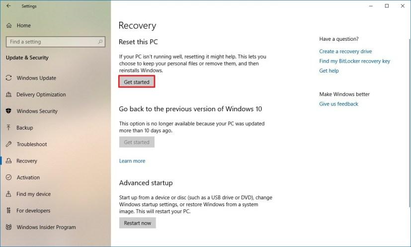 Reset this PC settings on Windows 10 version 1903