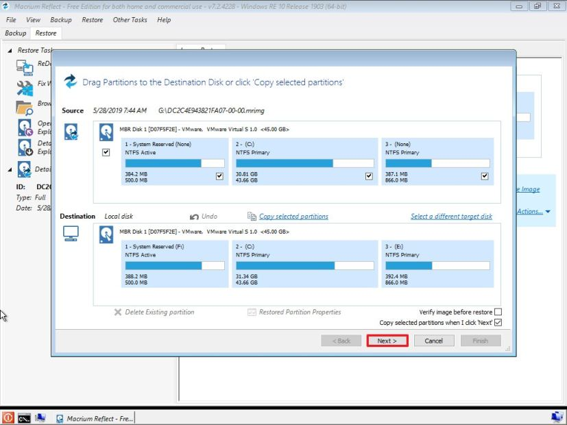 Restore backup on Windows 10 using Macrium Reflect