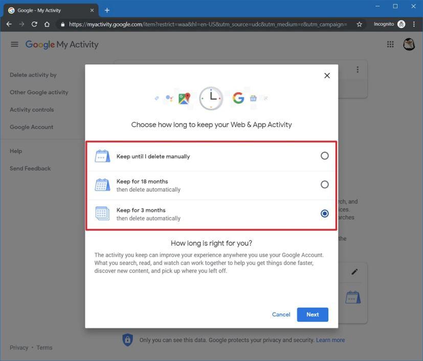 Google autom delete data options