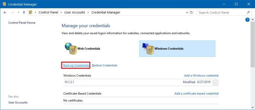 Backup Windows Credentials
