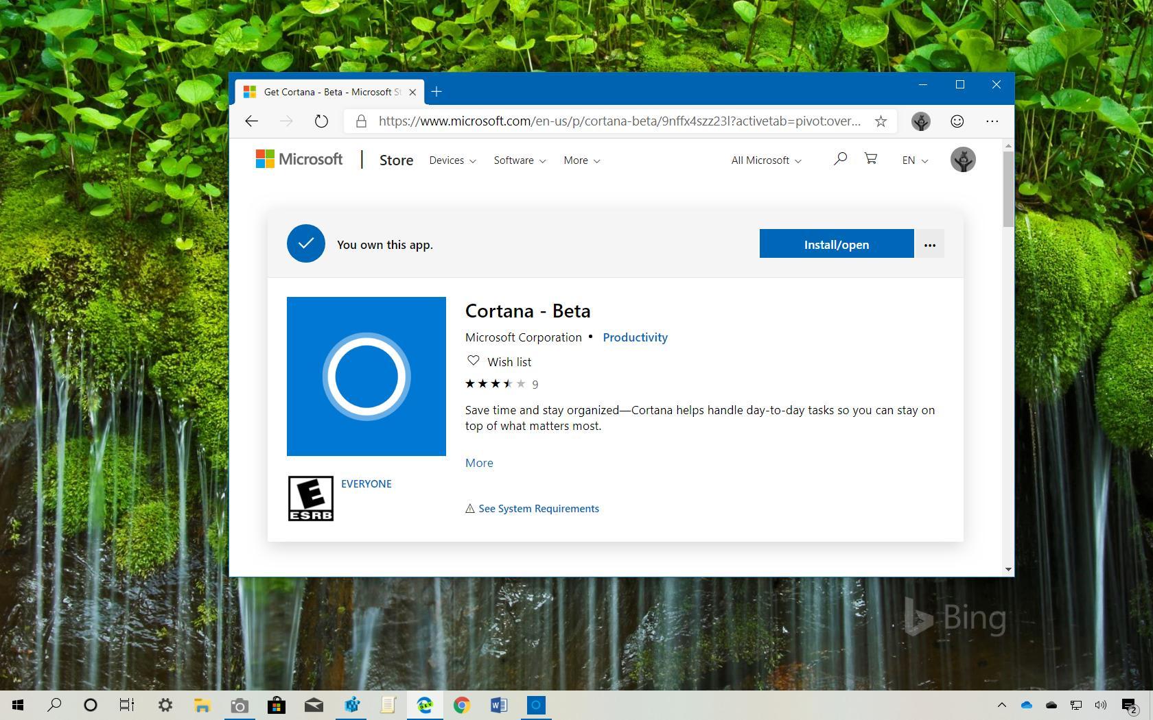 Cortana app for Windows 10