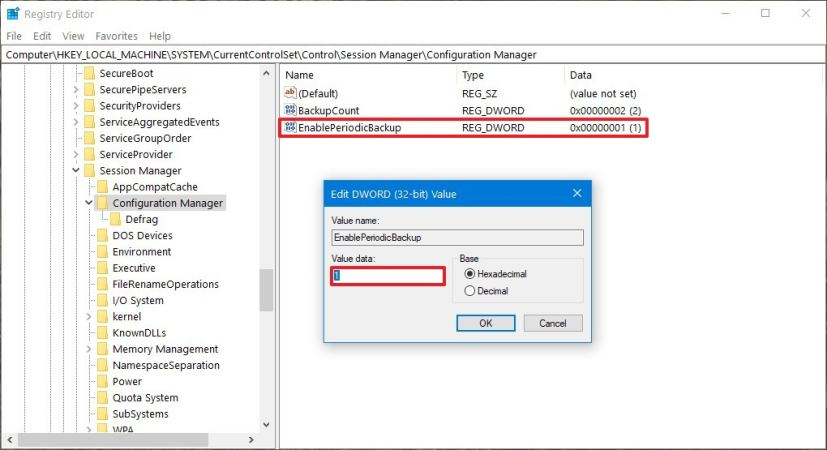 Configuring EnablePeriodicBackup for automatic Registry backups on Windows 10