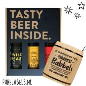 Kerstpakket voor mannen bier en kletspot cadeaupakket relatiegeschenk purelabels.nl