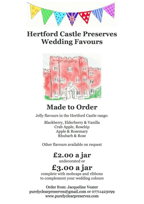 Wedding Favours Hertford Castle notice 2a