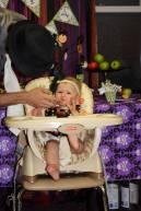 Gretchen eating birthday cupcake