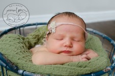 newborn photography blue basket sage blanket pink rose tieback