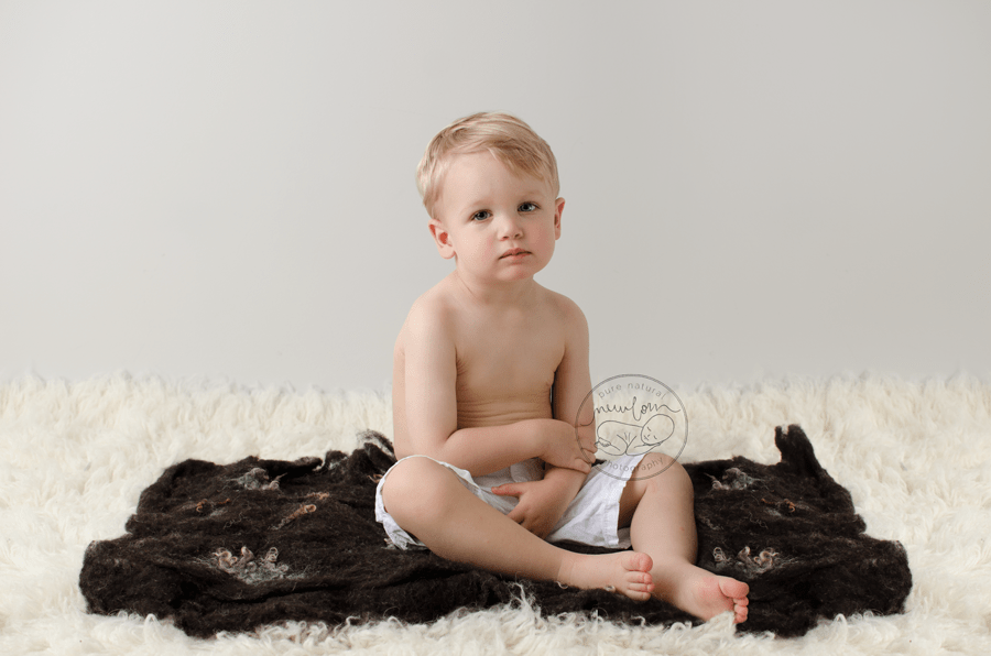 little boy 2 years old cream flokati chocolate felted wool mini blanket curly wool baby_STF7631