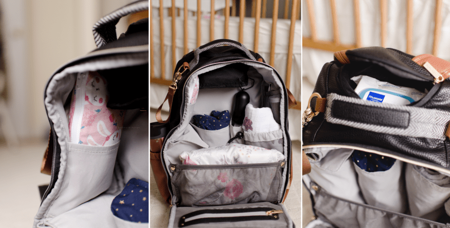 itzy ritzy boss backpack coffee & cream what's in diaper bag contents reveal