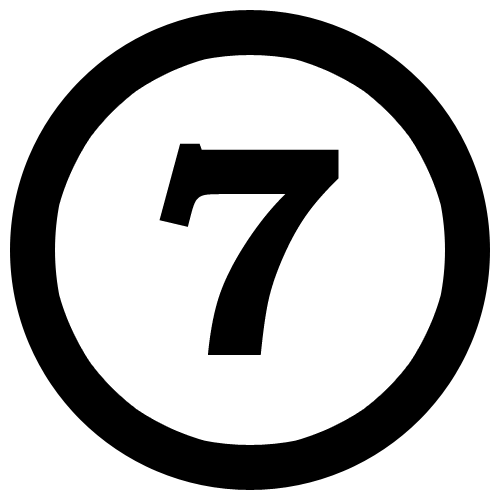 Number 7 black and white PNG Image for Free Download