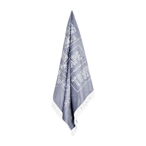 Pure Designer Products Cape Town illustration towel grey with tassels hanging