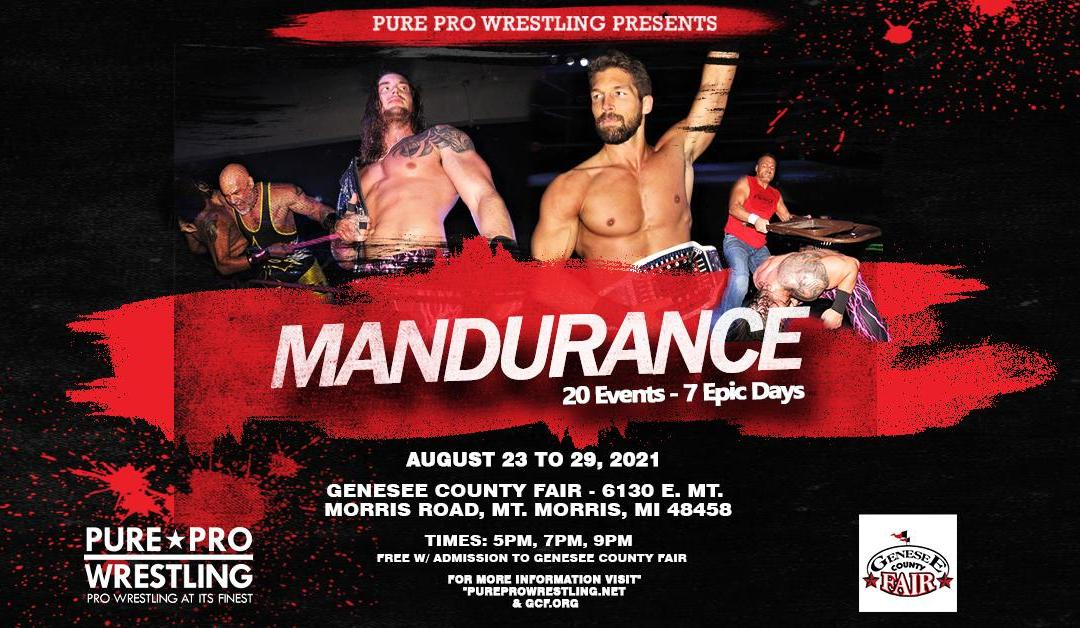 """Results: Pure Pro Wrestling """"Mandurance"""" at the Genesee County Fair"""