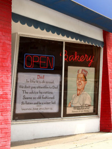Jim Fives art on the wind of Spatz Bakery