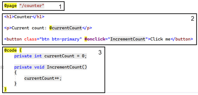 The sections of a component in Blazor - Getting started with C# and Blazor