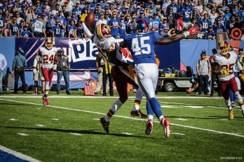 Quinton Dunbar intercepts Eli Manning Sunday vs Giants (photo: Bobby O'Hara)