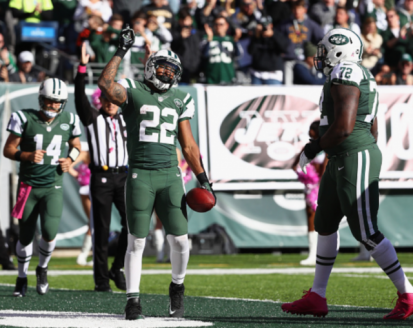(Photo Credit: Al Bello/ Getty Images) Forte after scoring his first TD of the afternoon.