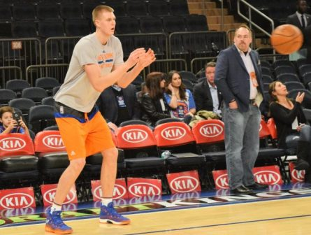 (Photo Credit: Barry Holmes) Porzingis working on his three ball before Tuesday night's contest.