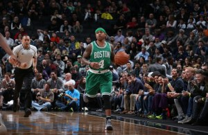 BROOKLYN, NY - NOVEMBER 23: Isaiah Thomas #4 of the Boston Celtics handles the ball against the Brooklyn Nets on November 23, 2016 at Barclays Center in Brooklyn, New York. NOTE TO USER: User expressly acknowledges and agrees that, by downloading and or using this Photograph, user is consenting to the terms and conditions of the Getty Images License Agreement. Mandatory Copyright Notice: Copyright 2016 NBAE (Photo by Nathaniel S. Butler/NBAE via Getty Images)