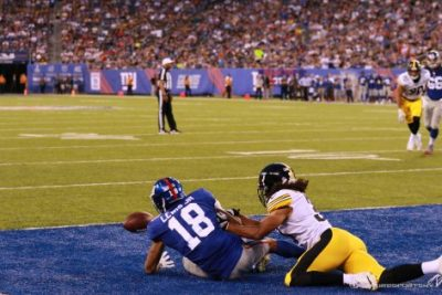 (Photo Credit: Bobby O'Hara/PureSportsNY) Lewis Jr. not converting on a touchdown in the Giants' first preseason game.
