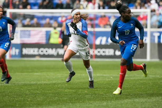 Alex Morgan saw limited opportunities on Sunday vs. France (Photo: Bobby O'Hara/PureSportsNY