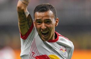 Kaku celebrates after a goal as the New York Red Bulls defeated Atlanta United Sunday