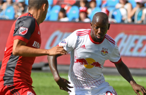 Bradley Wright-Phillips against Toronto FC.  Credit to New York Red Bulls.