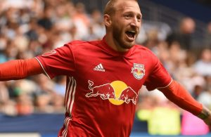 Daniel Royer celebrates after scoring the tying goal against Vancouver.  Credit to New York Red Bulls.
