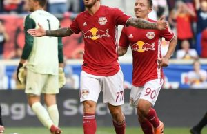 Daniel Royer celebrates one of his two goals against LAFC on Sunday.  Credit to New York Red Bulls.