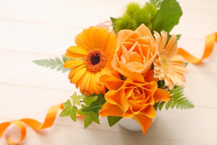 オレンジ系花束