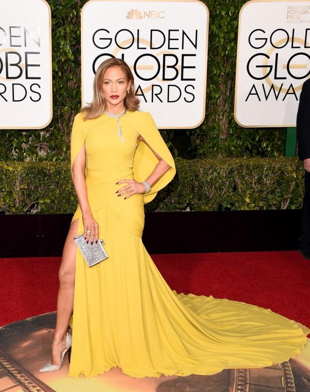 Jennifer Lopez yellow cape dress