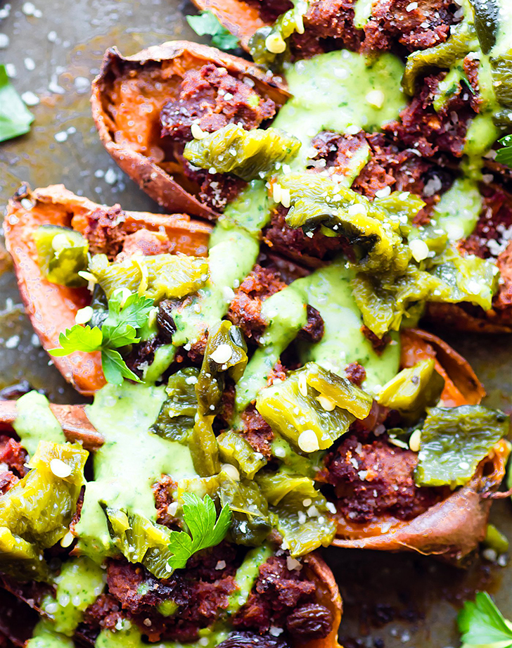 ancho beef chili stuffed sweet potato skins recipe